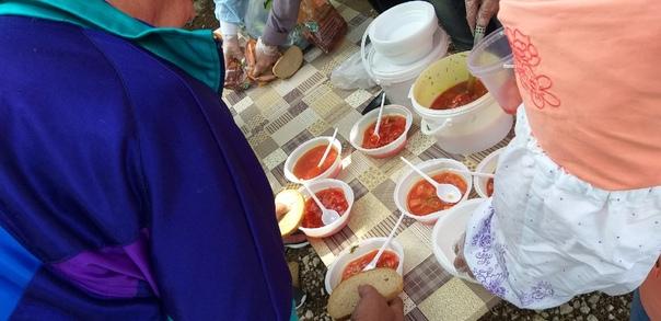 Раздача бесплатных горячих обедов